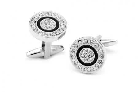 Black Circle Crystal Studs Cuff Link