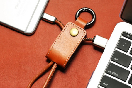 PU Brown Leather Portable USB charging cable keychain for latest IOS and Andriod