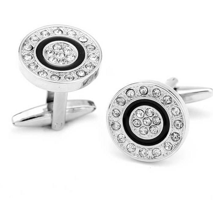 Black-circle-crystal-studs-Cuff-link