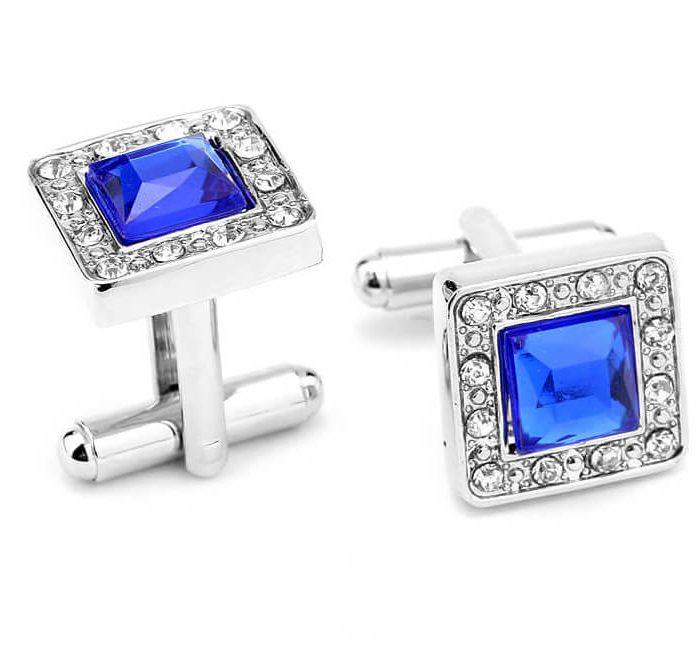 Blue-crystal-Cufflinks
