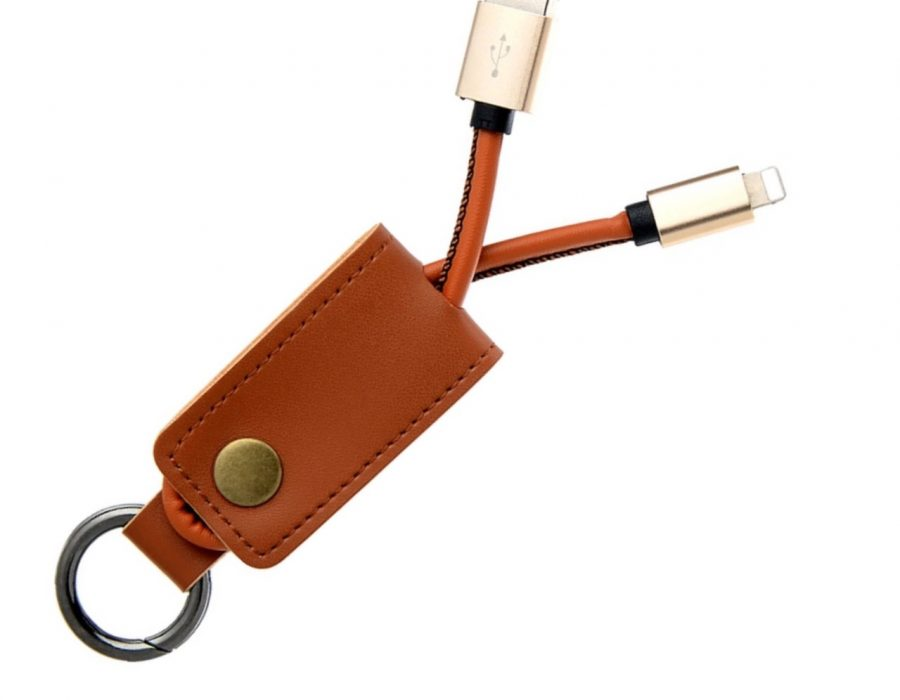 PU Brown Leather Portable USB charging cable keychain